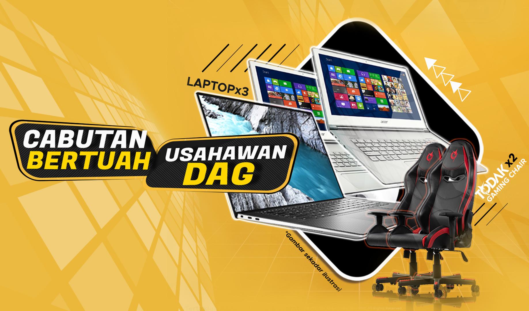 Menang 3 Laptop dan 2 Kerusi Gaming